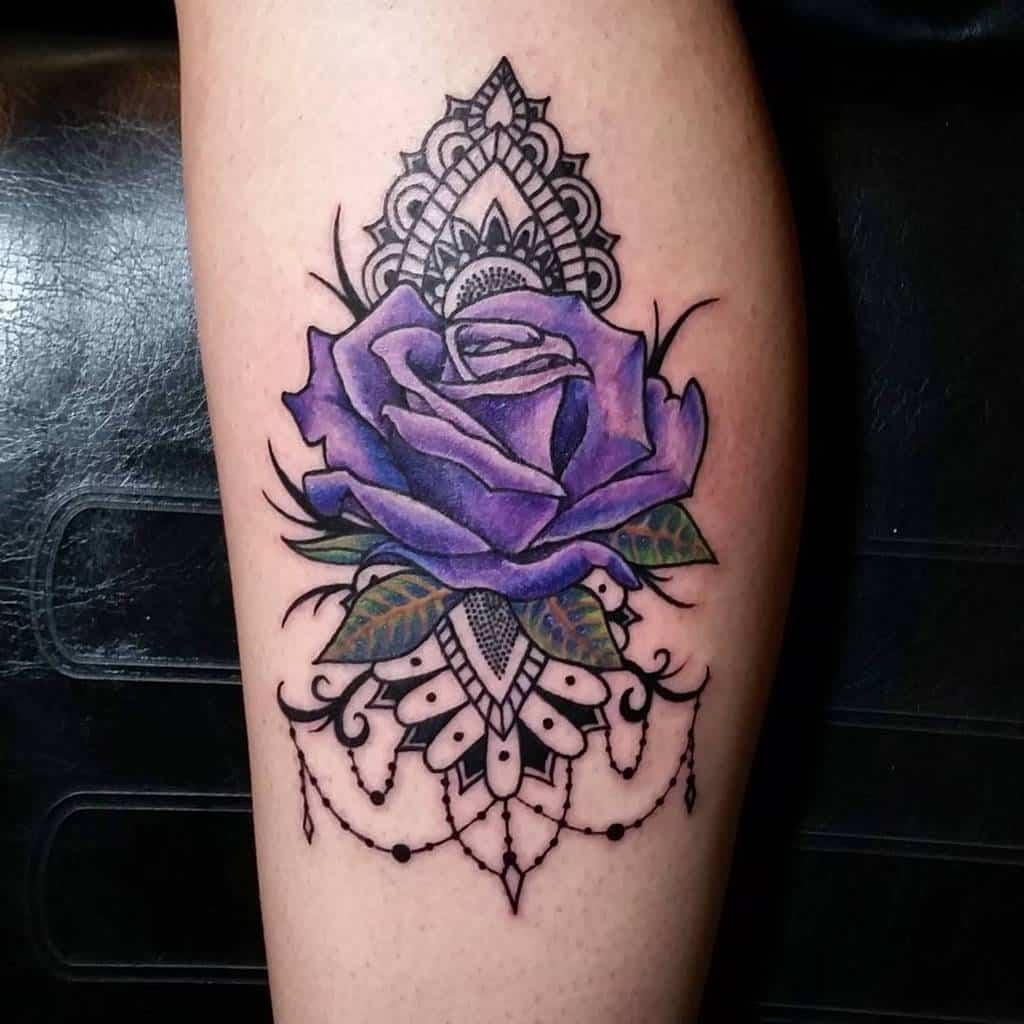 leg purple rose tattoos kzy247365