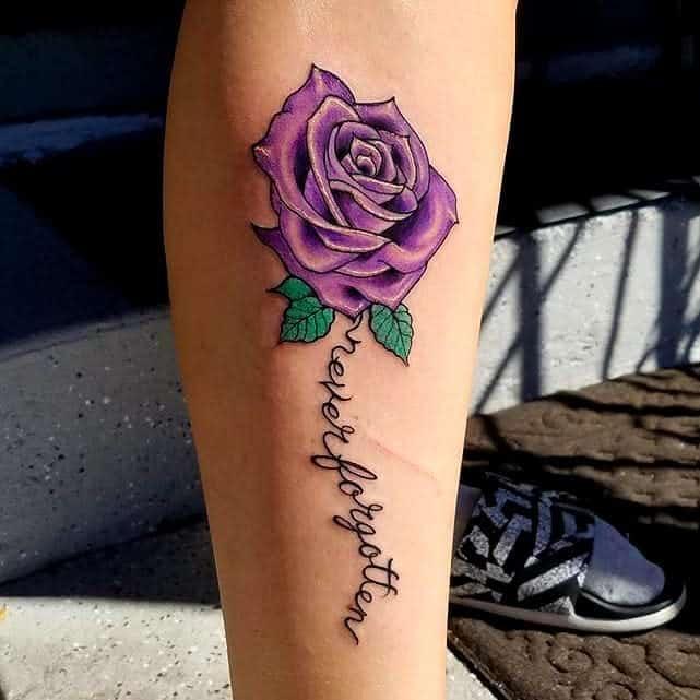leg purple rose tattoos sleepinggraves