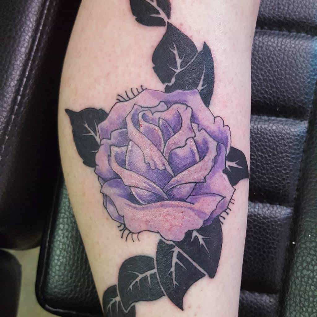 leg purple rose tattoos zactattoojones
