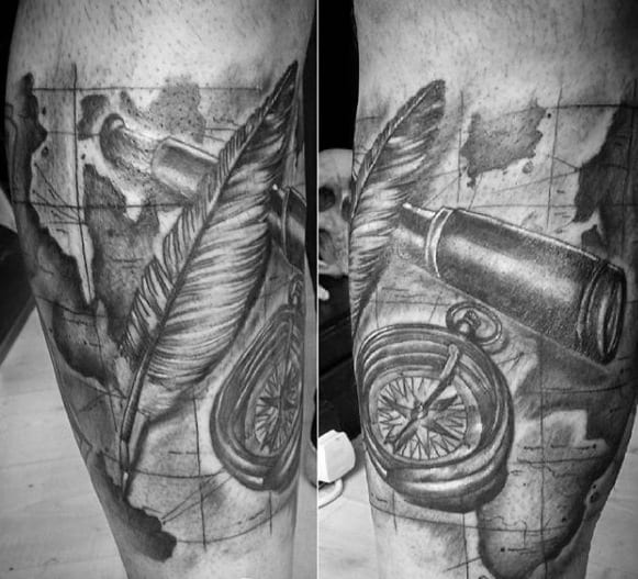 Leg Quarter Sleeve Map With Compass And Quill Tattoos For Gentlemen