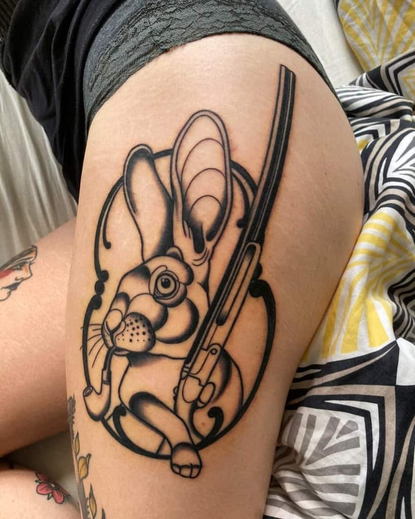 Leg Rabbit Tattoos Laura Kunterbunt