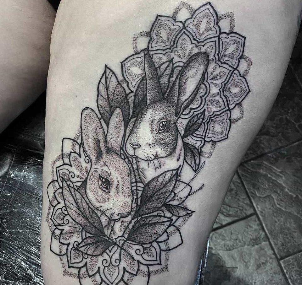 Leg Rabbit Tattoos Marieradfordtattoo