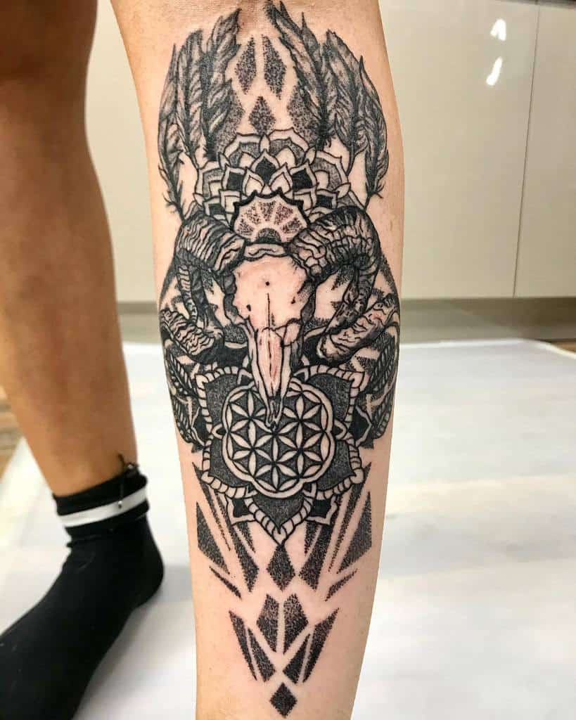 leg ram skull tattoo fckincocomate