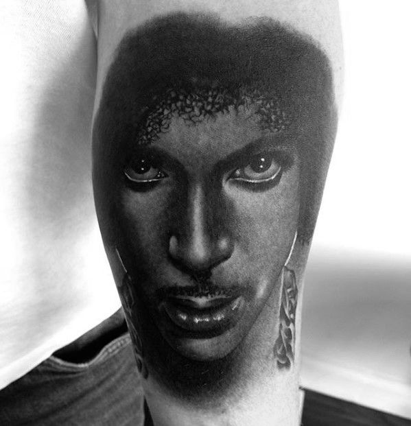 Leg Realistic Awesome Black And Grey Ink Prince Tattoos For Men