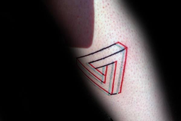 Leg Red And Black Ink Penrose Triangle Tattoos Men
