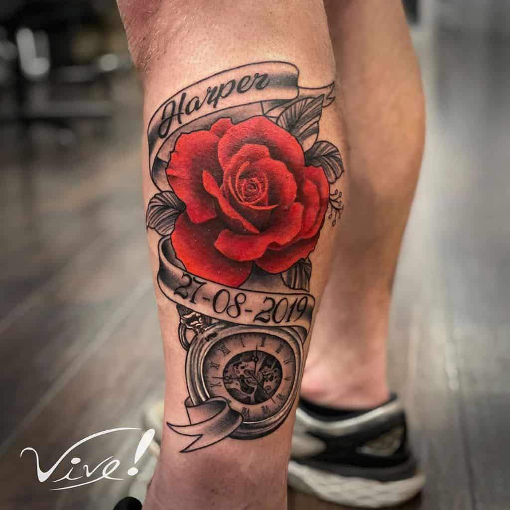 leg red rose tattoos wilowtattoo