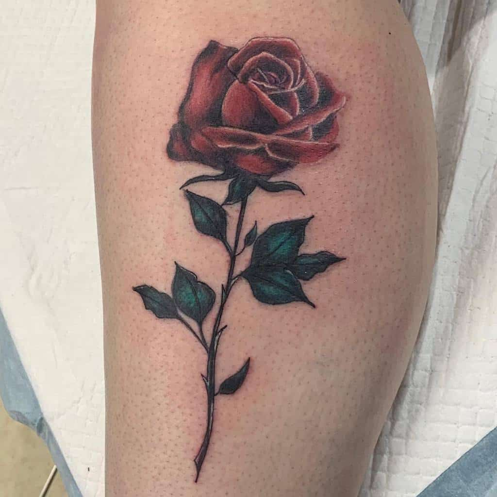 leg red rose tattoos wiltered_rose_13
