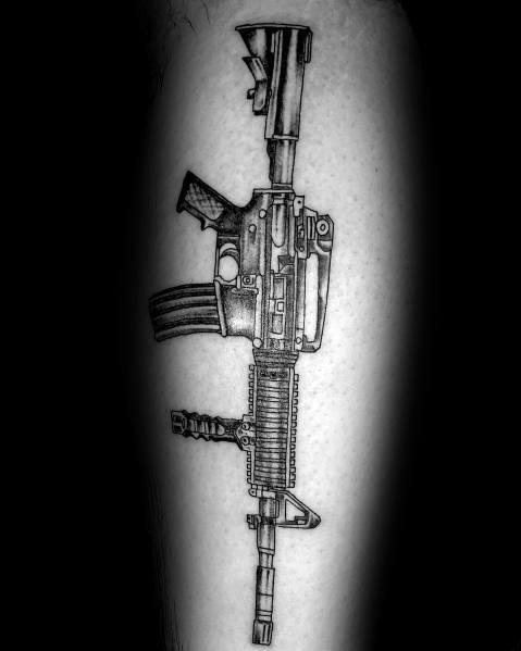 Leg Rifle Ar 15 Tattoo For Guys