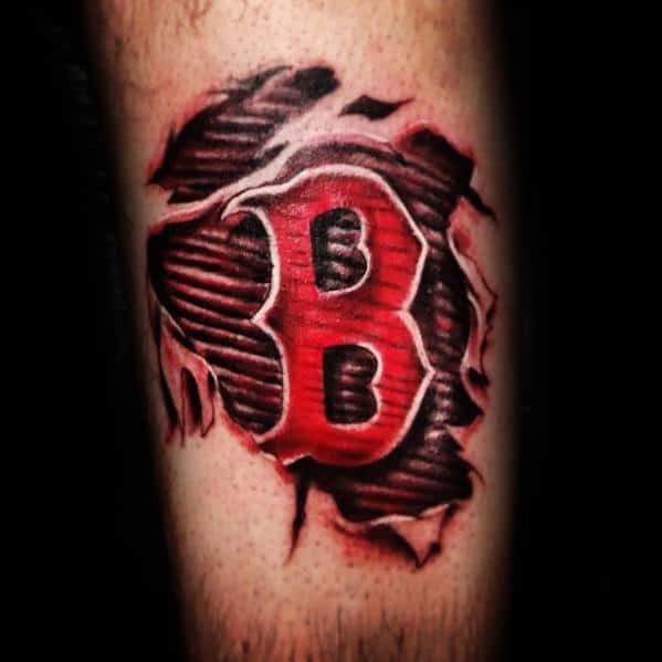 Leg Ripped Skin Boston Red Sox Tattoo Designs For Guys