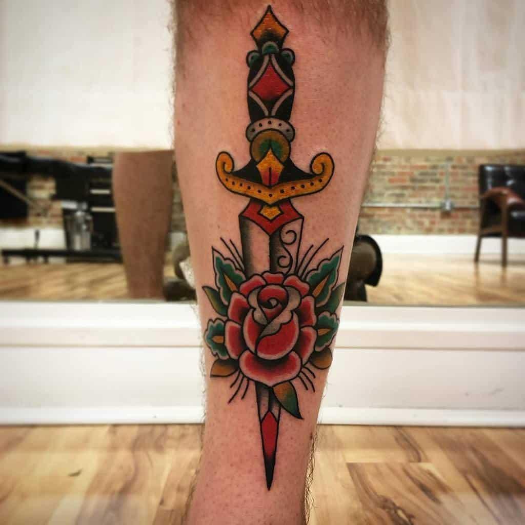 leg rose and dagger tattoos goodgracestattoo