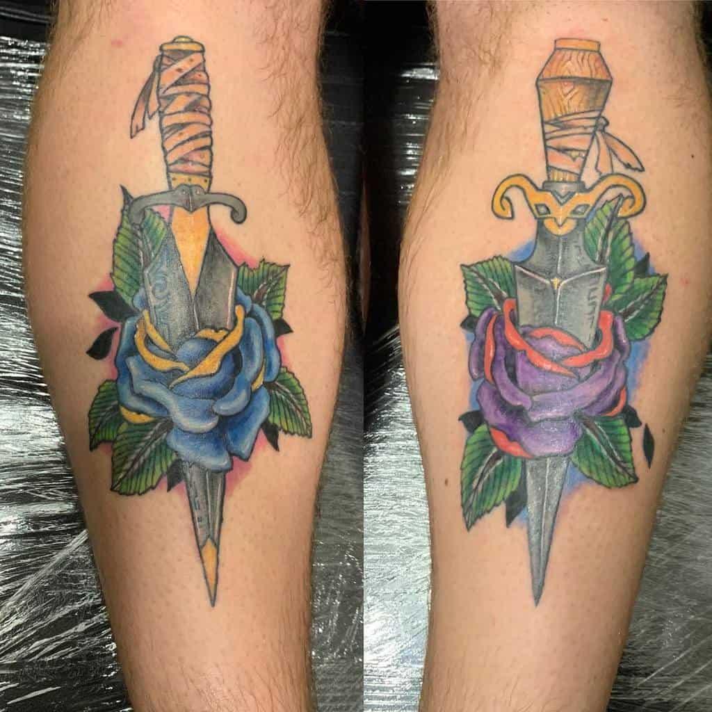 leg rose and dagger tattoos philthy_habits_tattoo