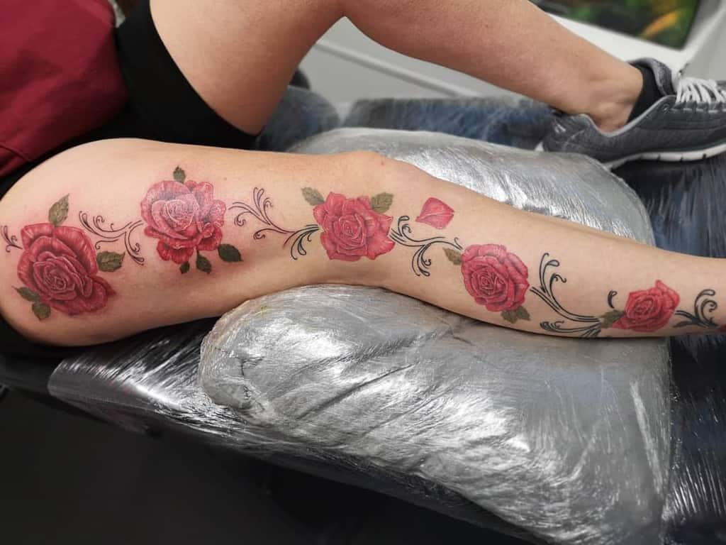 Fastest Flower Vine Tattoo On Leg