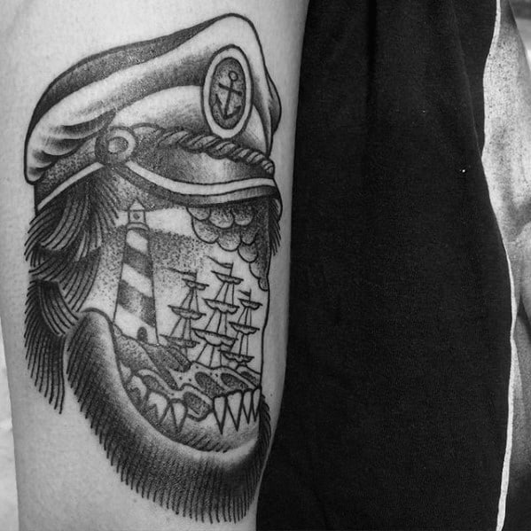 Leg Sailor Portrait With Hat And Sinking Ship Tattoo Ideas For Males