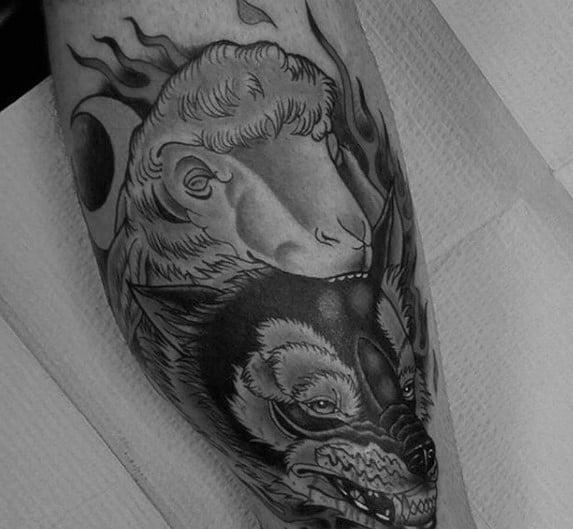 Leg Sheep Tattoo On Men