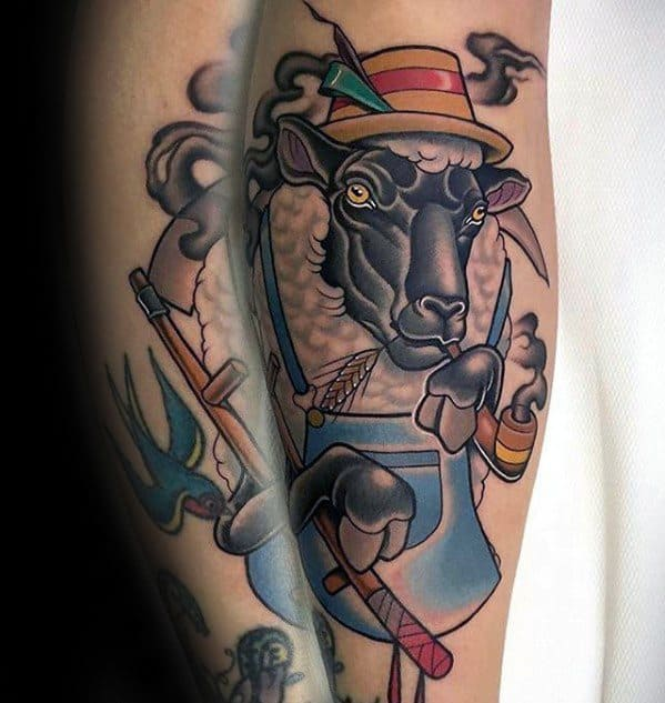Leg Sheep Tattoos Men