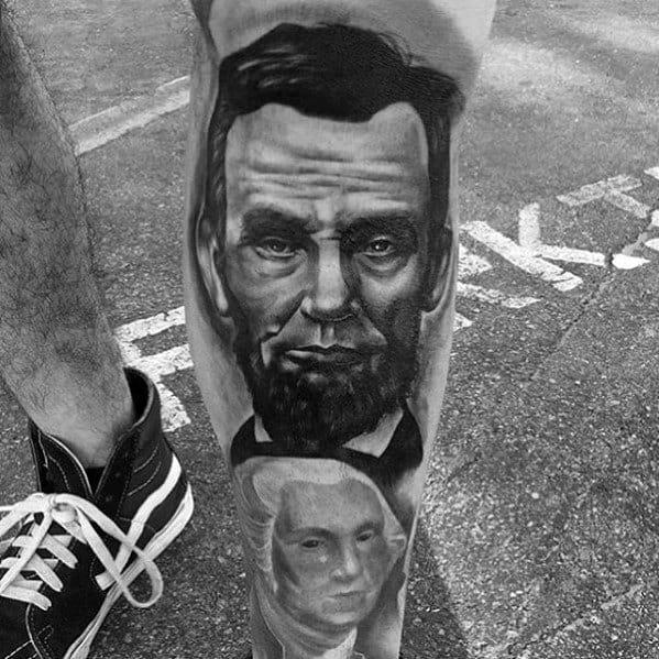Leg Shin Abraham Lincoln Mens Tattoo Designs