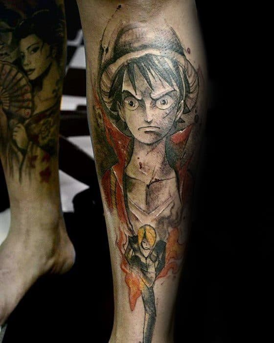Leg Shin Male Anime Tattoo