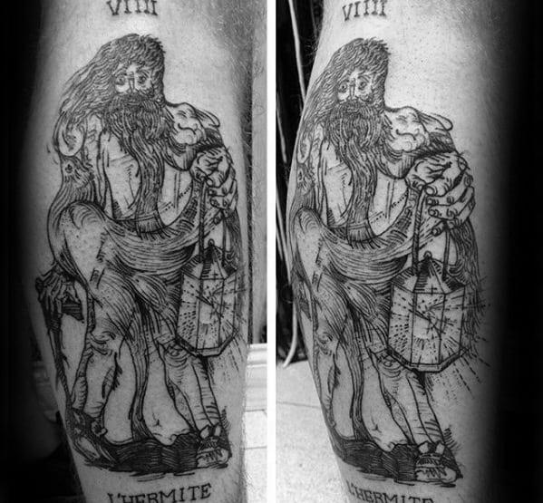 Leg Side Tarot Tattoo Ideas For Gentlemen