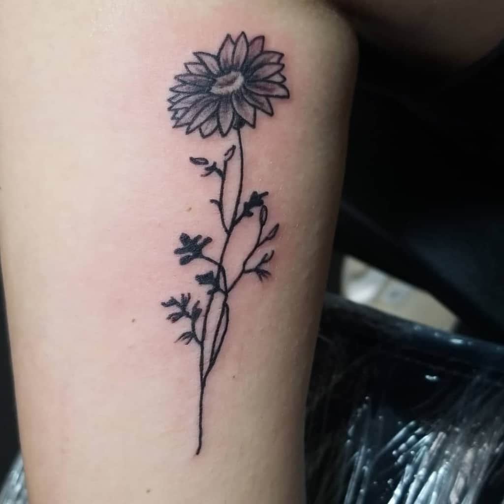 leg simple flower tattoos justtharick