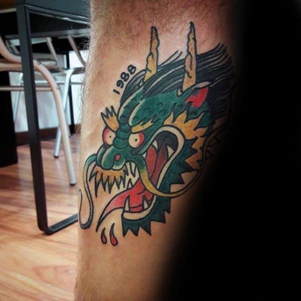 Leg Simple Traditional Dragon Head Mens Tattoos