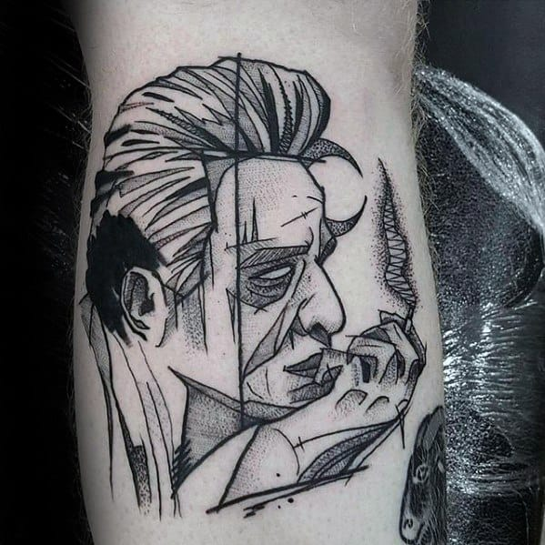 Leg Sketched Johnny Cash Tattoos Men