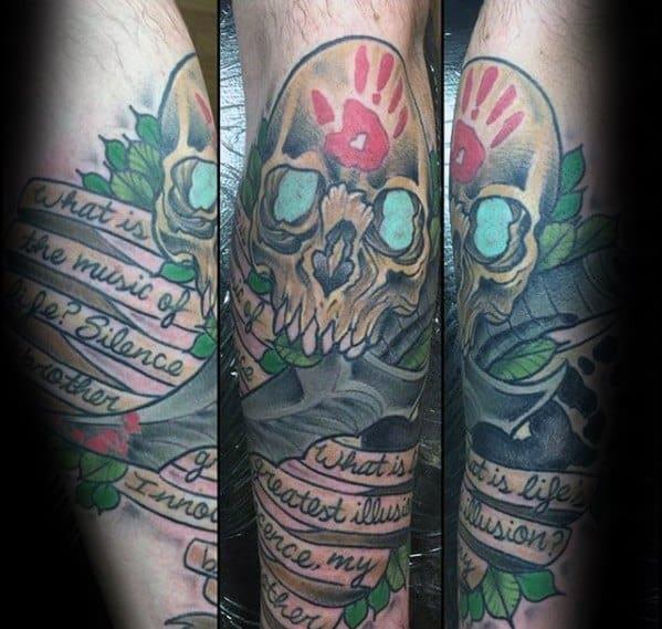 Leg Skull Banner Quote Skyrim Mens Tattoo Designs
