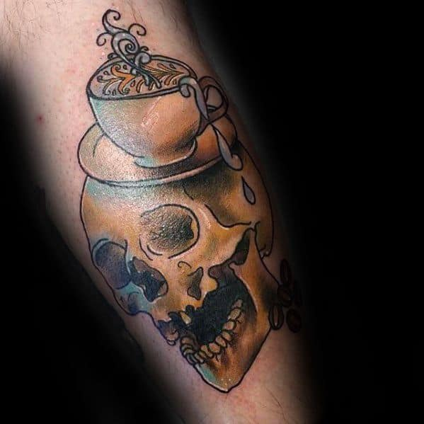 Leg Skull Coffee Cup Male Tattoos