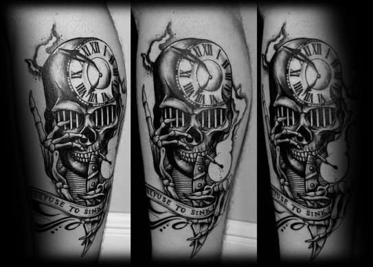Leg Skull Refuse To Sink Mens Tattoo Designs