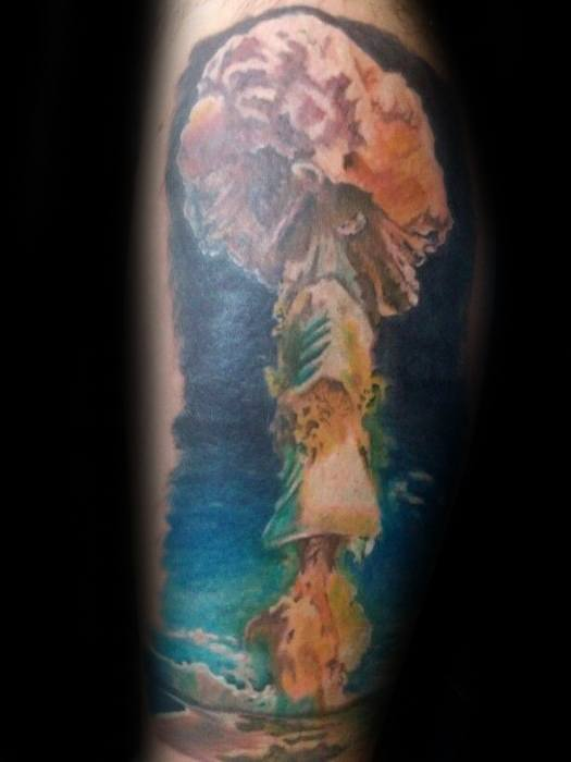 Leg Sky With Mushroom Cloud Tattoos For Gentlemen