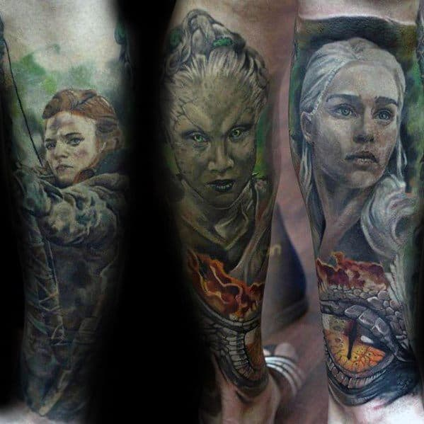 Leg Sleeve 3d Game Of Thrones Tattoo Design Ideas For Males