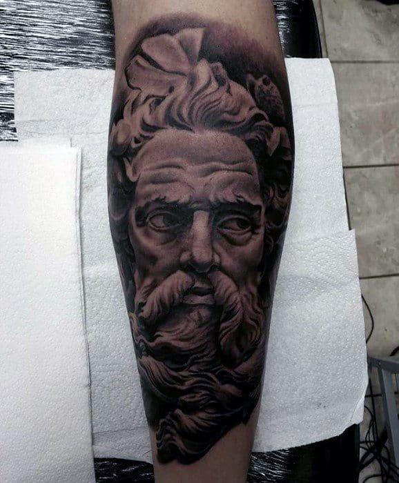 Leg Sleeve 3d Guys Roman Statue Tattoo Designs