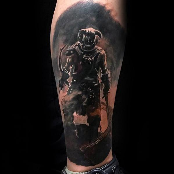 Leg Sleeve 3d Skyrim Tattoos Guys