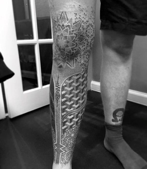 Leg Sleeve And Knee Cap Guys Pointillism Tattoos