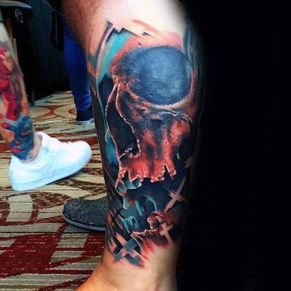 Leg Sleeve Artistic Watercolor Skull Male Tattoos