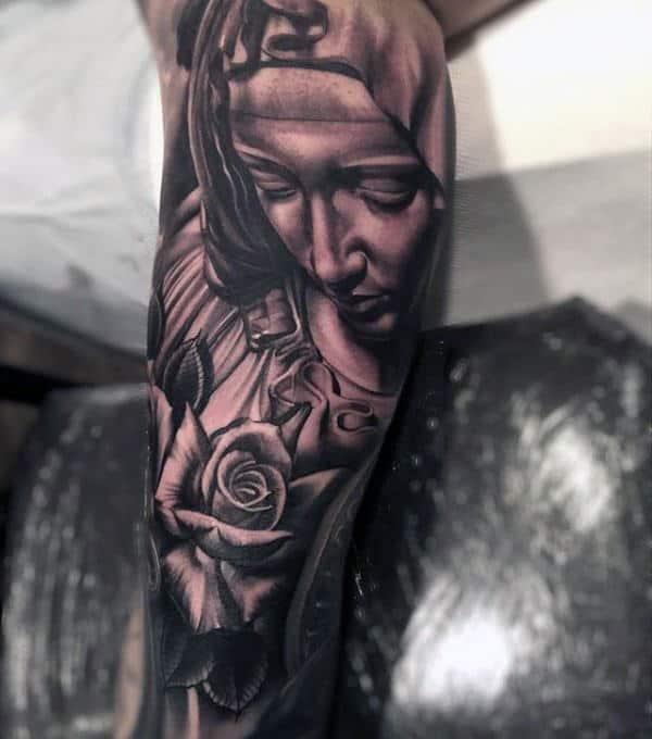 Leg Sleeve Christian Virgin Mary Male Tattoo Ideas