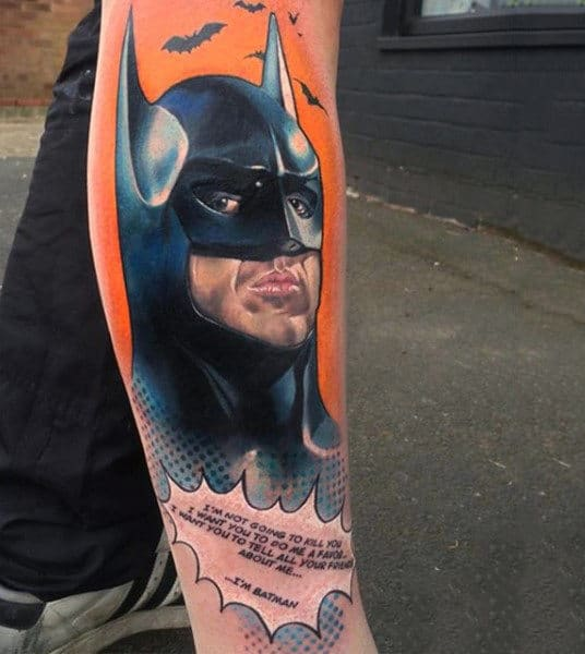Leg Sleeve Comic Style Batman Mens Tattoos