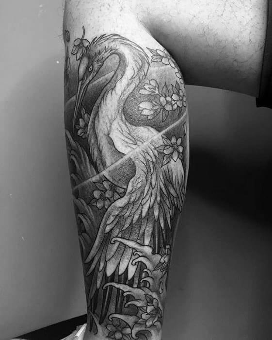 Leg Sleeve Crane Japanese Male Tattoos