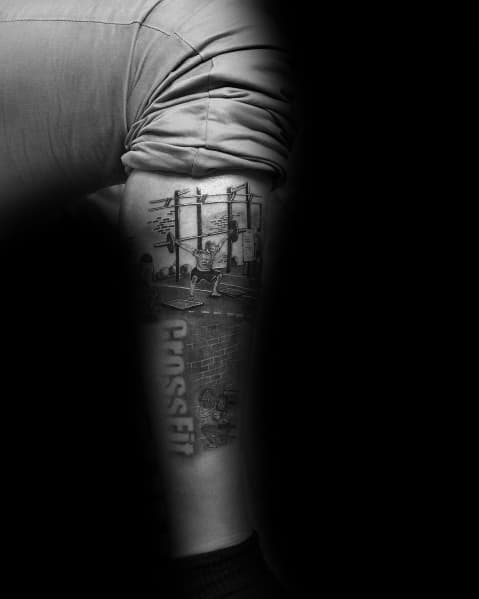 Leg Sleeve Crossfit Themed Tattoo Ideas For Men