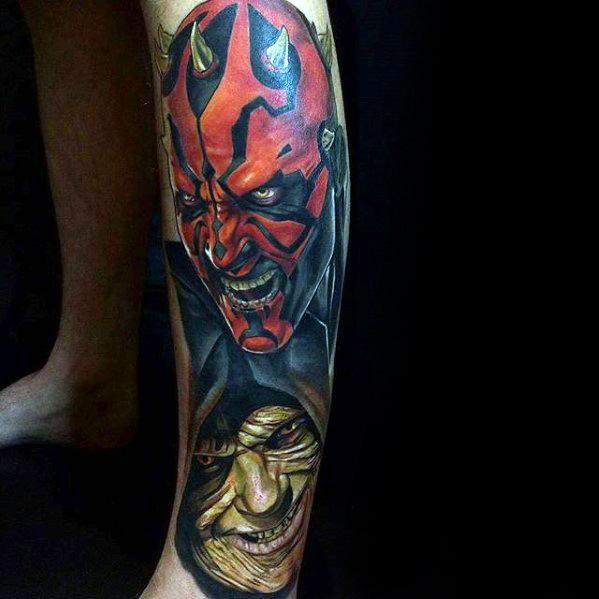 Leg Sleeve Darth Maul Tattoos Guys