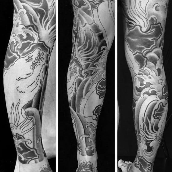 Leg Sleeve Eel Tattoo Ideas For Males