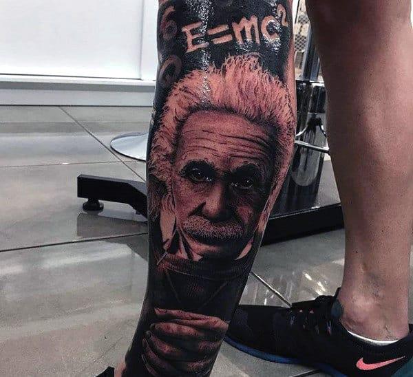 Leg Sleeve Einstein Mathatical Science Tattoo For Men