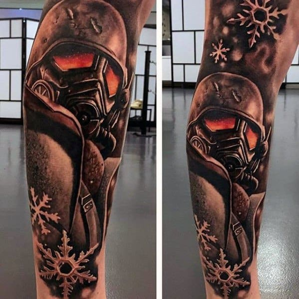 Leg Sleeve Fallout Tattoo Ideas For Males