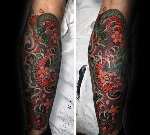Leg Sleeve Floral Guys Japanese Snake Tattoo Design Idea Inspiration