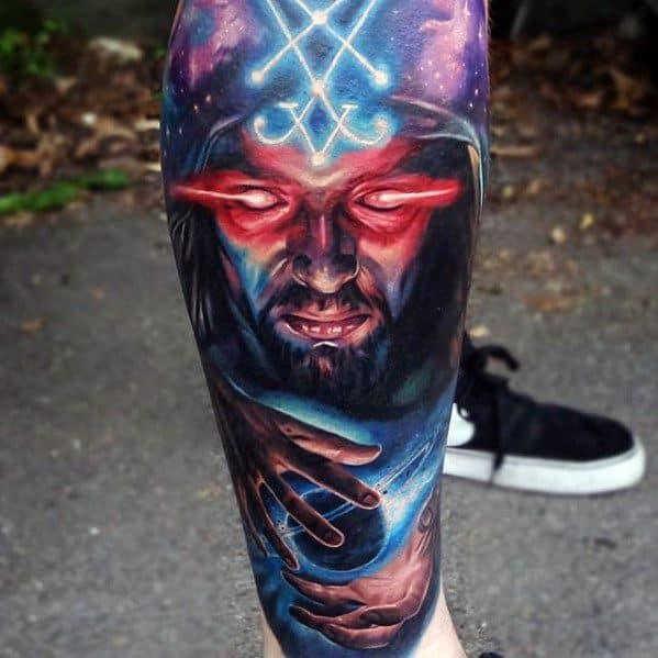 Leg Sleeve Glowing 3d Mens Magician Tattoo Ideas