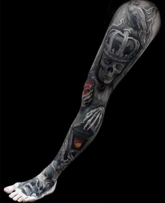 Leg Sleeve Guys 3d Skull With Crown And Lantern Tattoo Designs