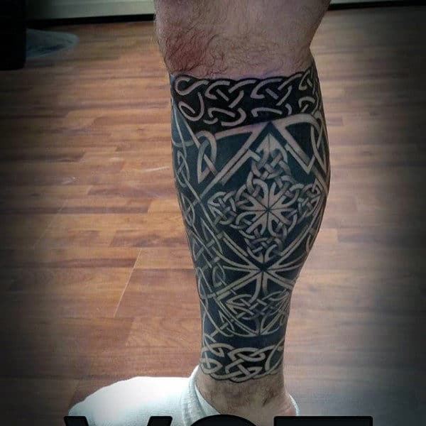 Leg Sleeve Guys Celtic Knot Black Ink Tattoo Design Ideas