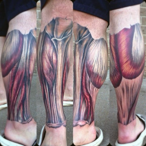 Leg Sleeve Guys Exposed Muscle And Bone Tattoo Designs