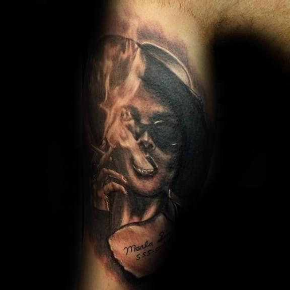 Leg Sleeve Guys Fight Club Tattoo Inspiration