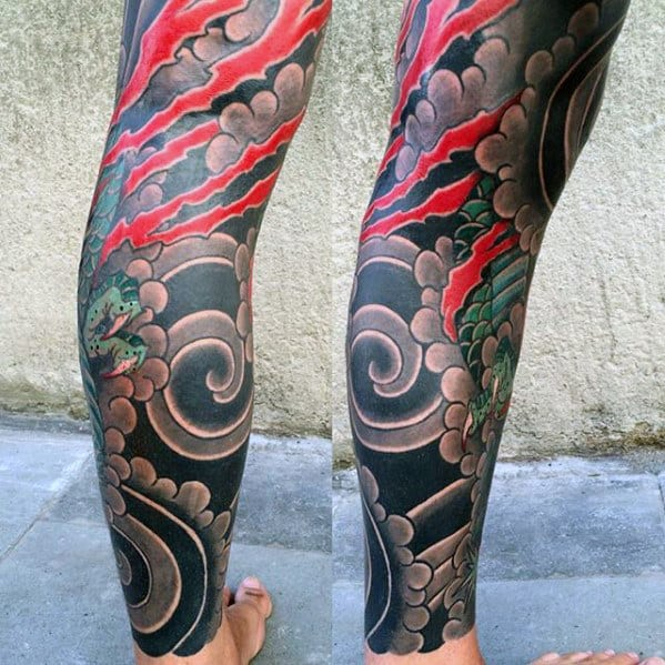 Leg Sleeve Guys Japanese Cloud Tattoo Designs