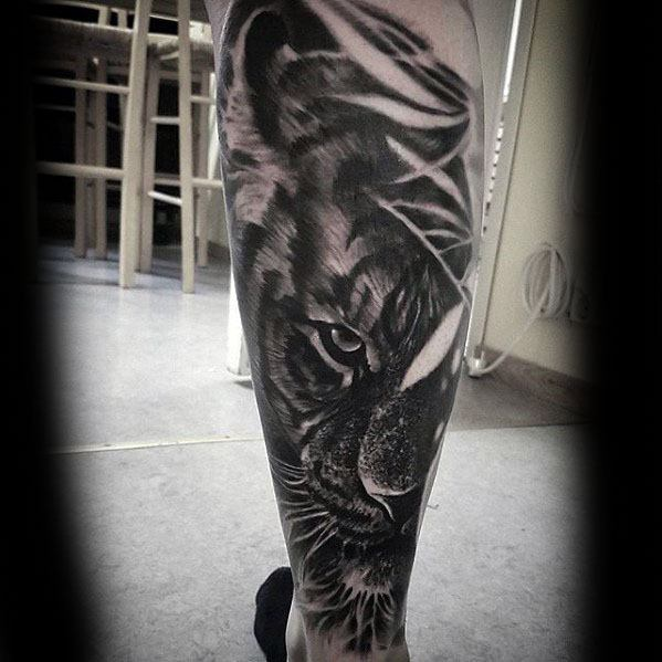 Leg Sleeve Guys Tiger Eyes Tattoo Design Ideas On Legs